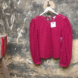 Hinge cranberry sheer lace puff sleeve blouse